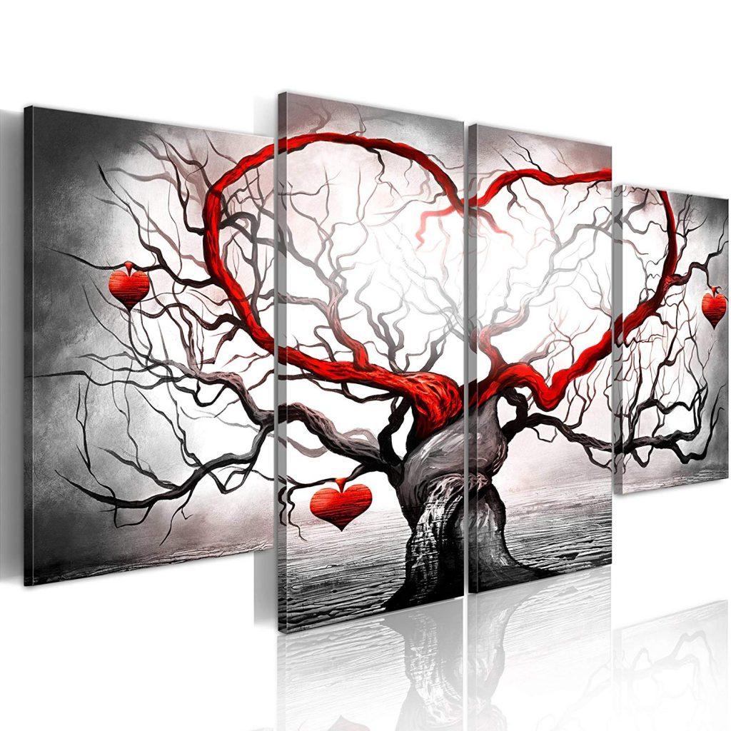 Cuadros abstractos en blanco, negro y rojo
