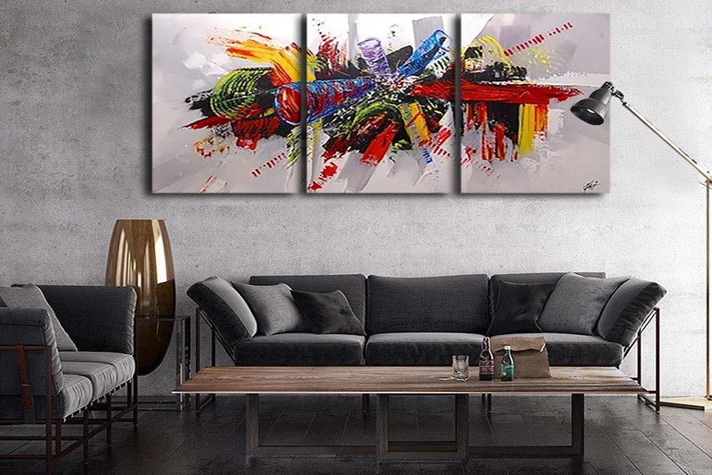 Pintar cuadro abstracto tríptico