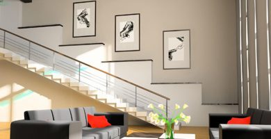 Decorar escaleras con cuadros