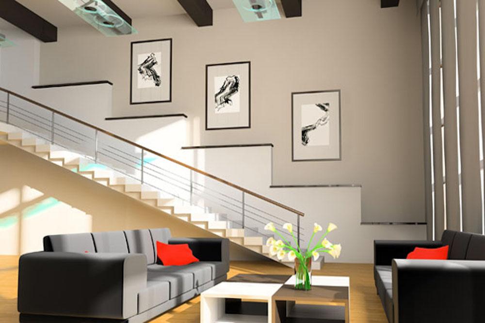 Decorar escaleras con cuadros